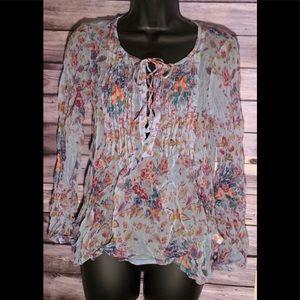 Lucky Brand women's sheer blouse